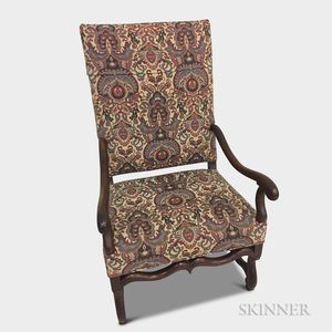 Continental Baroque-style Upholstered Walnut Armchair