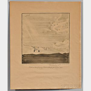 Flights: Unforgettable Exploits of the Air  , Seven Prints, by Frank Lemon (1890-1943) Five Signed by Aviators.