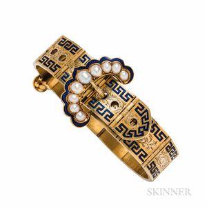 Victorian Gold, Split Pearl, and Enamel Garter Bracelet