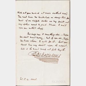 Dickens, Charles (1812-1870) Autograph Letter Signed, 21 July 1841.