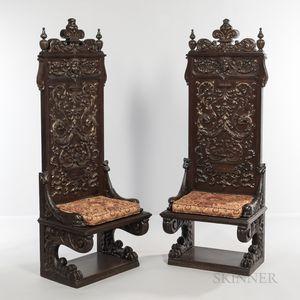 Pair of Renaissance Revival Oak Chairs