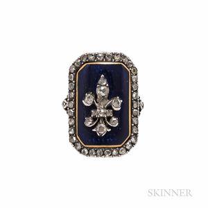 Antique Enamel and Diamond Plaque Ring
