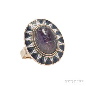 14kt Gold, Amethyst, and Enamel Ring