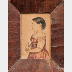 Samuel Rowell (Massachusetts/New Hampshire, 1815-1890)      Profile Portrait of Abby J. Fielden, c. 1820