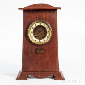 Oak Arts & Crafts Presentation Mantel Clock