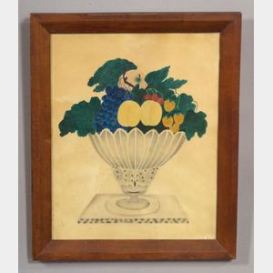 American School, 19th Century      Still Life of Fruit in a Glass Compote.