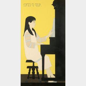 Will Barnet (American, b. 1911)      Girl at Piano