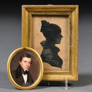 American School, 19th Century      Portrait Miniature of a Young Man and a Silhouette of a Woman.