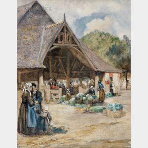 William Lee Hankey (British, 1869-1950)      Outdoor Market, Northern France