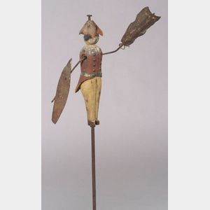 Carved and Painted Wood and Iron Soldier Whirligig