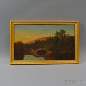 John Douglas Woodward (American, 1846-1924)      Lone Figure on a Bridge