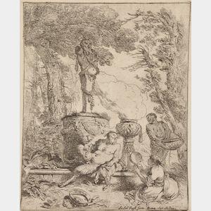 Giovanni Benedetto Castiglione (Italian, 1609-1664)      Bacchanale Before a Statue of the God Termine
