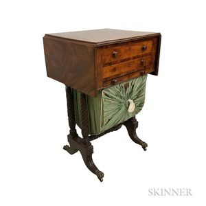 Classical Carved and Upholstered Mahogany Sewing Stand