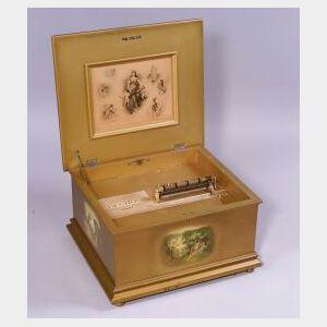 Regina 15 1/2-Inch Disc Musical Box In Vernis Martin Case