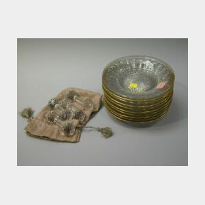 Set of Ten Heisey Gilt Decorated Colorless Glass Plates and Four Colorless Cut Glass Knife Rests.