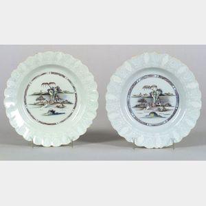 Two Delftware Polychrome Decorated Bianco-Sopra-Bianco Plates