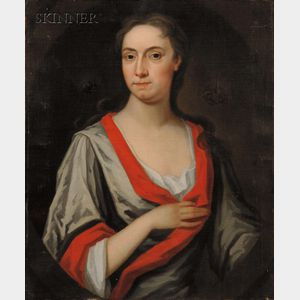 British School, 18th/19th Century      Portrait of a Lady in Gray and Red