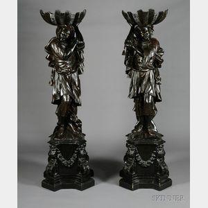 Sold for: $27,255 - Pair of Venetian Baroque Revival Ebonized Blackamoor Hall Figures