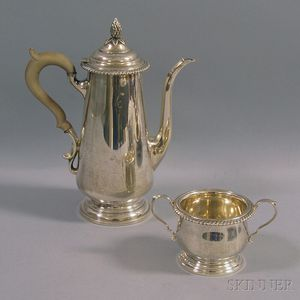 Sterling Silver Coffeepot and Two-handled Open Sugar