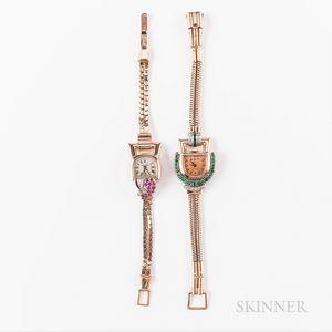 Two Paul Ditisheim Rose Gold Gem-set Cocktail Wristwatches