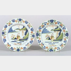 Two Polychrome Decorated Delftware Plates