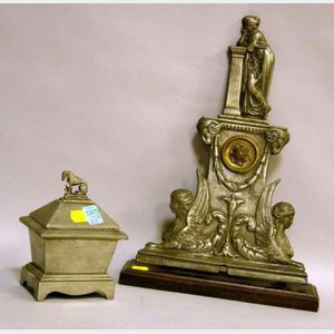 Classical-style White Metal Mantel Garniture and a Small Lidded Box.