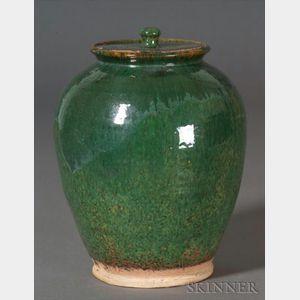Sold for: $29,375 - Green-glazed Redware Covered Jar