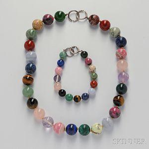 Hardstone Bead Necklace and Bracelet, Paloma Picasso, Tiffany & Co.