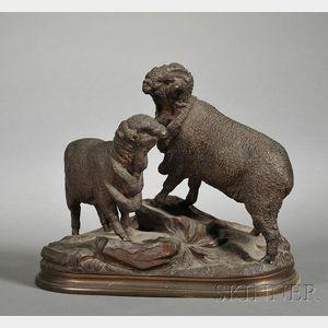 Jules Moigniez (French, 1835-1894)       Bronze Figure of Merino Ram and Sheep