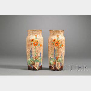 Pair of Crown Ducal Ceramic Vases