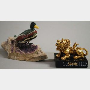 Georg O. Wild Carved Stone Duck with Ruby Eyes and a Gilt-metal Frank Meisler Lion o   Judah Paperweight