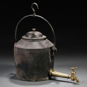 Cast Iron and Brass Hearth Kettle