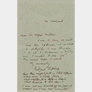 Kipling, Rudyard (1865-1936) Autograph Letter Signed, Rhodesia, [1898].