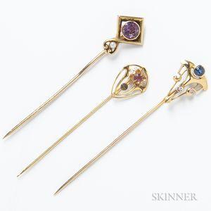Three 14kt Gold Stickpins