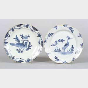 Two Bristol Delftware Blue and White Bird Plates