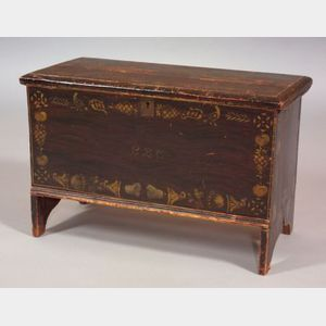 Paint and Stencil Decorated Six-board Chest