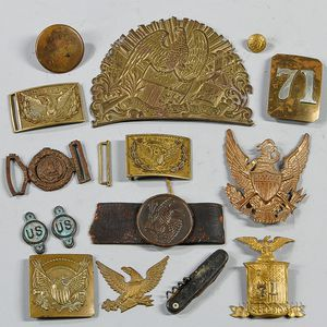 Group of Civil War-era Plates and Buckles
