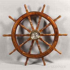 Turned Mahogany Ship's Helm Mounted with Clock