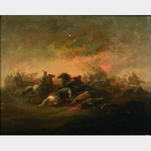 Manner of Philips Wouwerman (Dutch, 1619-1668)    Equestrian Battle Scene