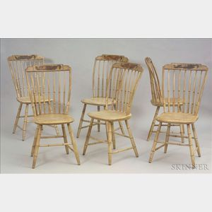 Set of Six Painted and gilt-decorated Windsor Side Chairs
