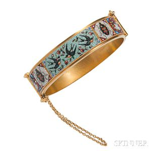 Antique Etruscan Revival Gold and Micromosaic Bracelet