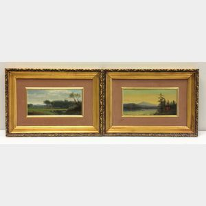 American School, Late 19th Century    Two Hudson River School/White Mountain-style Landscapes: Boater on a Lake