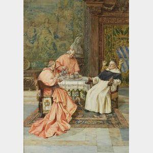 Pietro Pavesi (Italian, 19th Century)  The Cardinal's Tea