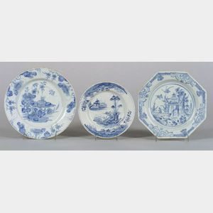 Three Delftware Blue and White Plates