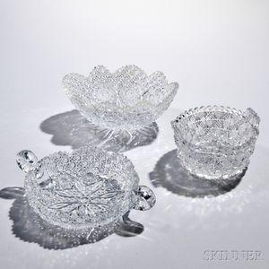 Three American Brilliant-cut Colorless Glass Bowls