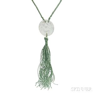 Art Deco Glass and Silk Necklace, Rene Lalique for Fioret