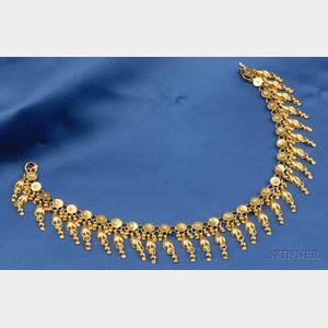 High Karat Gold Fringe Necklace
