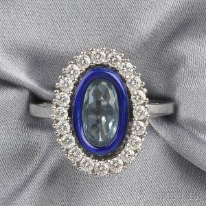Platinum, Aquamarine, Enamel, and Diamond Ring, Fabergé