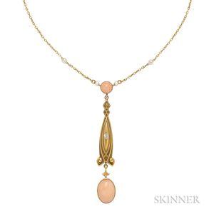 Art Nouveau Gold, Coral, and Diamond Lavaliere