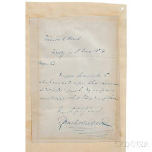 Dickens, Charles (1812-1870) Autograph Note Signed, 6 June 1854.